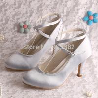 (15 Colors)Custom Logo Design on High Heel Shoes Bridal Silver Satin Pumps Wedding Size 8 Free Shipping
