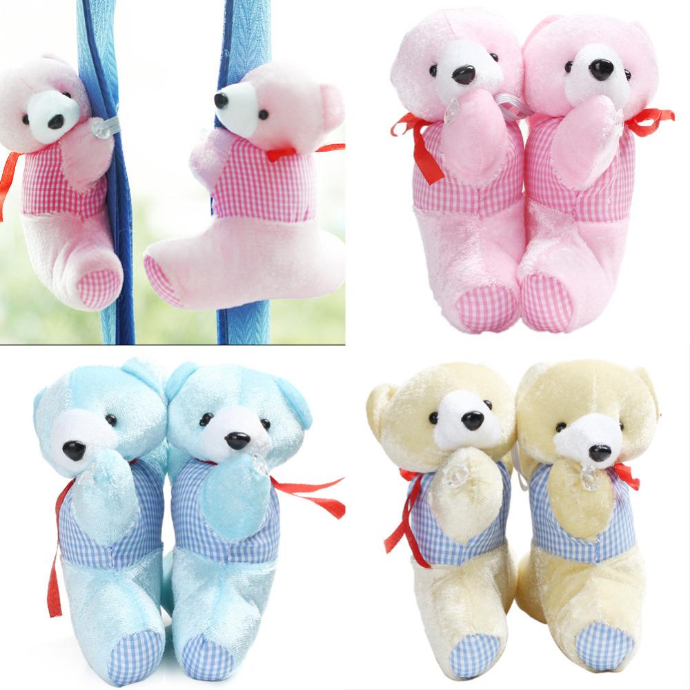 Cute1 Pair Baby Bedroom Plush Bear Curtain Tieback Holder Hook Buckle Cartoon Decors Free Shipping(China (Mainland))