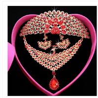 The new bride wedding necklace crown tricolor Phoenix peacock headdress ornaments