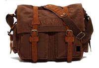 Men's Vintage Canvas Genuine Leather School Military Shoulder Bag Belt Messenger Bag