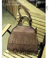 Fashion Women Genuine  Leather Handbags Tassel vintage Shoulder Bags Europe and America style Messenger Bag