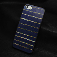 2014 HOT new design wholesale gold Stripes paint print black hard plastic case cover for iphone 4 4s 5 5S