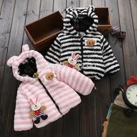 New style fashion thick warm winter coat boys and girls children kids cute cartoon rabbit cotton striped cotton children parkas