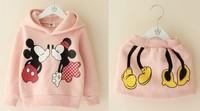 Free shipping 2014 Autumn winter new children clothing set cartoon mickey fleece girls hoody+skirt 2pcs suit 5sets/lot in stock