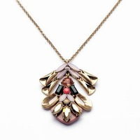 Min order $15 (Can Mix Item)  High fashion vintage gold created crystal gemstone flower pendant sweater necklace
