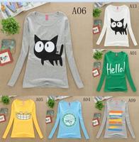 Hot sale!!! 2014 New Fashion Good Quality Female Tops Women's full sleeve T-shirts,Casual Cotton T Shirt Women