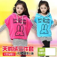 Sz110~160 Spring Autumn girls bat shirt+stripes bottoming shirt+pants 3pcs suit children clothing set 30p
