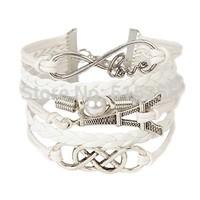 2014 new arrival fashion white Eiffel Tower decorated woven rope  metal Korean Fashion pulseiras braceletes ouro bangles leather