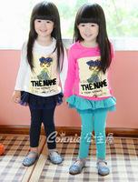 2014  Fashion Solid color Cotton Girls Leggings with Ruffles Skirt Skirt Leggings for kIDS Children Baby Girl Wear Sky blue Navy