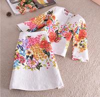 Women Autumn Winter Dress Set 2014 Vinatge Elegant Print Office Lady Dresses Pencil Skinny Plus Size Dress Set