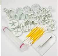 factory retail  46pcs (14 sets) mixed fondant plunger cutter and tools for fondant cake decoration