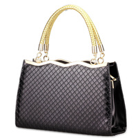 2014 New Arrival Women's PU Plaid knurling Shoulder Bags Casual Fashion Patchwork Zipper handbag Free Shipping