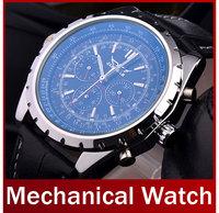 2014 New Fashion Men Automatic Mechanical Watch Leather Strap Self Wind Skeleton Watch Complete Calendar Analog Dress Wristwatch