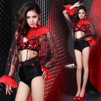 Brand WYB Night bar Girl Sexy Clothing Printing Costume Slim Singer Cosplay Costumes for women Red Teddies/Bodysuits