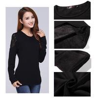 Warm Velvet Winter Sweatshirt Women Pullover Hoodies Thick Regular Lenth Long Sleeve Lace Fashion Shoulder  Black T shirt  3XL