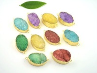 10pcs Natural Druzy Quartz stone Pendant in Mixed color,  Gold plated edge Crystal Drusy Gem Stone Necklace Pendant Oval shape