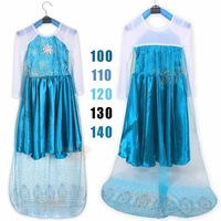 2014 New Autumn Frozen Dress Sequined Long Sleeve Princess Girls dresses Elsa Girl Long Dress Maxi Dress 5 pieces / lot 1178