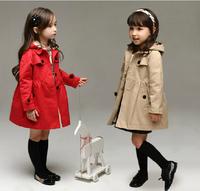 Retail- 2014 Autumn little girls  England youngster windbreaker jacket long coat jacket cardigan Kids