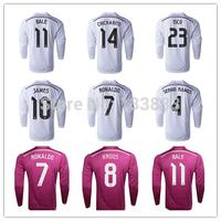 White Pink Long Sleeve Jersey Bale Ronaldo Isco James Kroos Benzema Modric Chicharito Jersey 14 15 TOP Thai 2015 Soccer Shirt