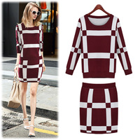 2014 European women's autumn long-sleeve knit leisure suits with skirt