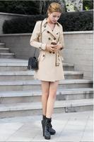 new spring 2014 autumn overcoat women medium-long sashes trenchcoat slim women casual dress trench coat for women