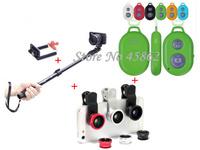 Free shipping Lightweight Portable Handheld Telescopic Extendable Monopod Tripod +Bluetooth remote control+Fisheye lens