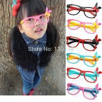 10pce/lot ,11Colour 2014 new Child glasses frame lens black rabbit ear cartoon female child baby eyes box glasses Free shipping