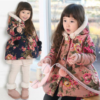 Free shipping 2014 retro large flower girls warm cotton wool ball hooded padded jacket   girls winter coat