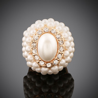 5 Colors Fashion Wedding Ring Fine Jewelry New Retro Imitation Pearl Rounded Gorgeous Ring ER036