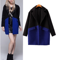 2014 NEW Winter Women's Retro Lapel Notched Collar Spliced Blue & Black Color Wool Blend Jacket Mid long Trench Coat Outwear