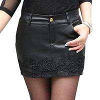 NEW Women's Korea Sexy Stylish Slim Short PU Leather Skirt  Embroidery Black Mini  Thin package Hip Short Skirt 2014Autumn/