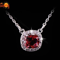 1pcs 18K white gold plated Fashion necklace big red crystal  Necklaces Pendants for women free shipping