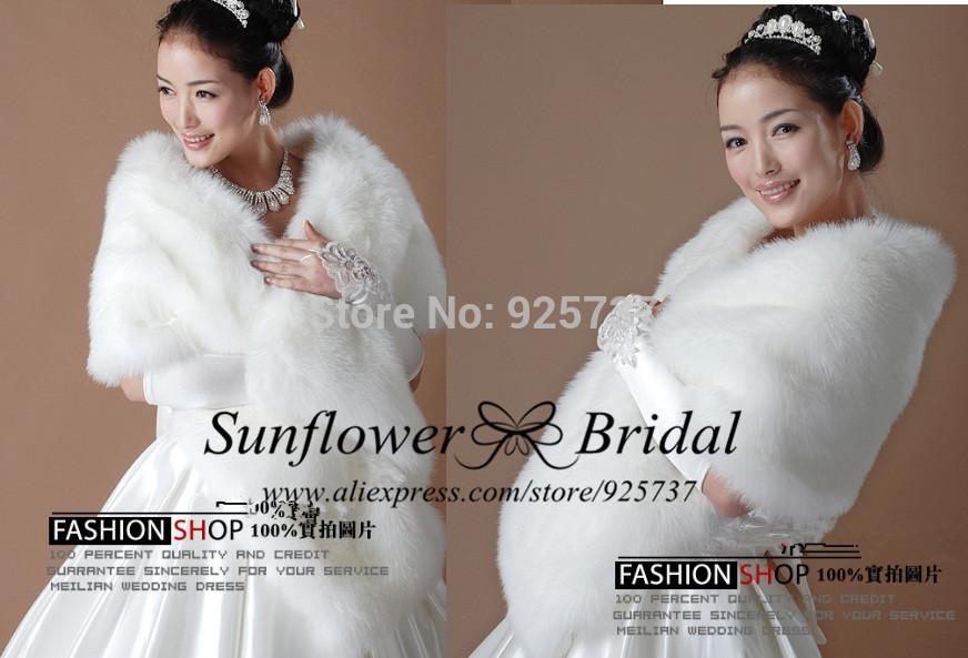 Free Shipping white Fur Wrap Shrug Bolero Bridal Shawl ivory Jacket wedding dress shrugs Dress Hot free Size casamento(China (Mainland))
