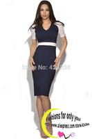 New 2014 European And American Design Women Fashion Sexy Dark Blue Patchwork Bodycon Work Dress Vestido De Renda