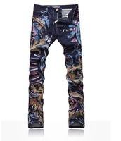 Men's Fashion Jeans Male Slim Colored Drawing Flower Printed Trousers Painted Pattern Print Denim 3D Jeans  High Quality