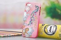 Free Shipping HK/SG post PZ Peacock Embroidery Leather Case Skin Cover For Apple iPhone 5 iPhone 5s iphone 6 4.7""