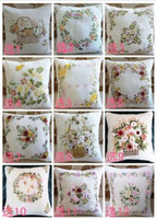 Wholesale handmade ribbon embroidery cotton honeycomb cloth cushion for leaning on pillow case  Pure cotton waffle cushion cover
