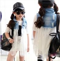 baby clothing wholesale children's for girls pick Pling lace denim tutu dress dress