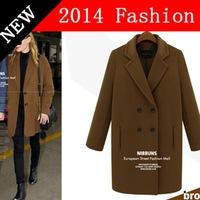 2014 NEW winter Fashion women coat long woolen brown wool coats female overcoat woman clothes women's elegant clothing 0918K