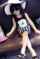 Baby children's clothing wholesale children's wear fashionin peace Summer girls L6047 stripe vest dress