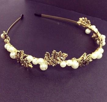 2014 корейский стиль перл Hairbands волосы ювелирные изделия тиара сплава листьев ...