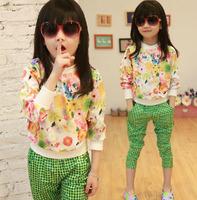sz110~160 Spring Autumn girls pullovers+pants suit children clothing set 30p floral fashion