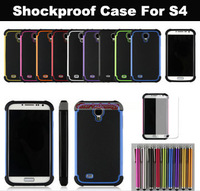 Wholesale Free Shipping Shockproof Cover For Galaxy S4 Rubber Hard & Soft Case For Samsung S4 500PCS/lot