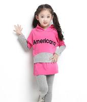 sz110~160 Spring Autumn girls bat shirt+pants 2pcs suit Child pullovers children clothing set 30p blue and peach red