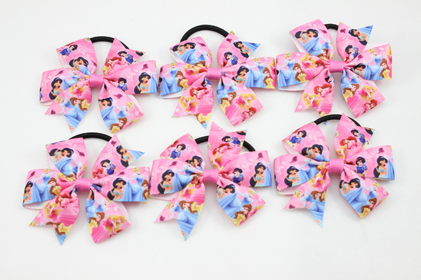 New Princess Hair Bow Hair Tie Rope Hair Bands for Girl and Woman Boutique Bows Elastic Hair band 30 pcs / lot Free Shipping(China (Mainland))