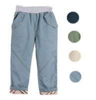 Wholesale Children Casual Pants Trousers Little Boys Kids Cotton Plaid Leisure Long Pants Elastic Waist Baby Bottoms With Pocket