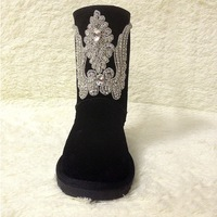 2014 new arrive fashion bingbing rhinestone snow boots handmade Angel wings boots