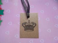 free shipping kraft paper card 25*30mm Garment women  cloth paper label printed crown women mini paper tag