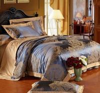 Luxury 4pcs blue camel Tencel silk Jacquard duvet cover+flat sheet+pillowcase bedding set Queen/King size/B2376 Express shipping