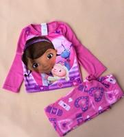 NEW STYLE Free shipping children kids Doc Mcstuffins girls Fleece winter long sleeves pajamas  pink color cotton pyjamas